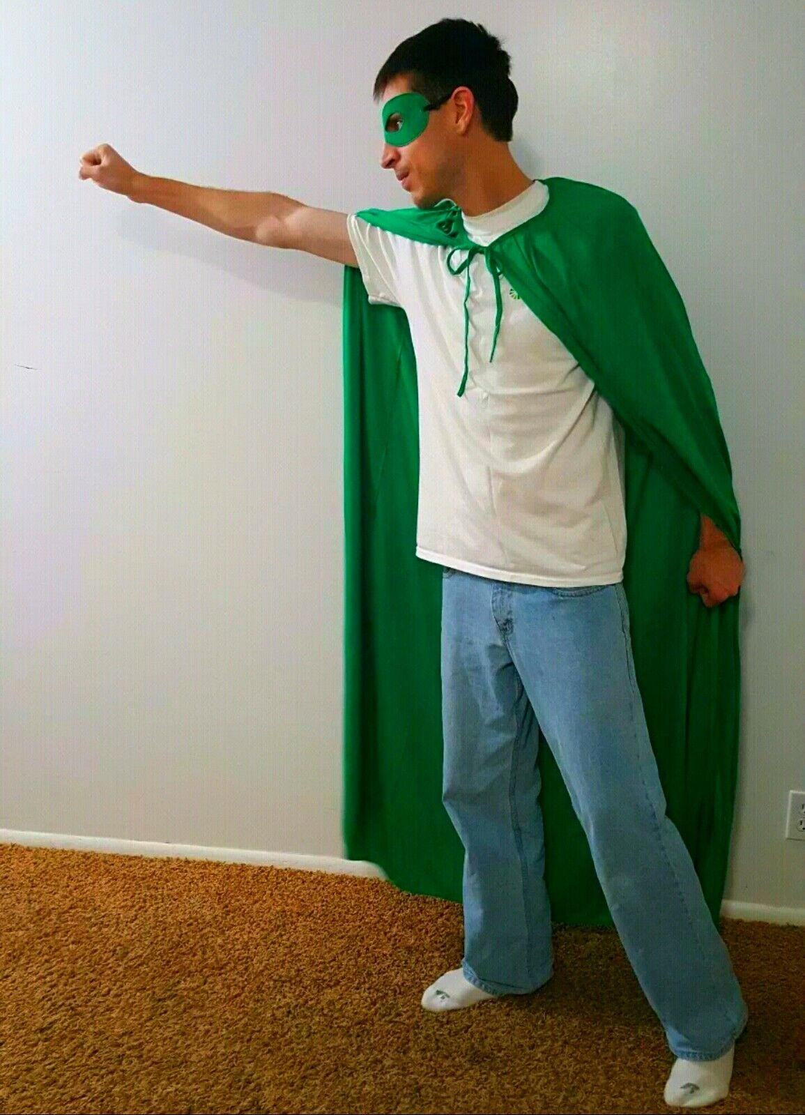 Everyday Super Hero Gear SET  Includes Green Mask, Cape, and T-shirt Size Medium