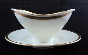 """EDELSTEIN BAVARIA GEOMETRIC GOLD TRIM 3 1/4"""" GRAVY BOAT WITH ATTACHED UNDERPLATE"""