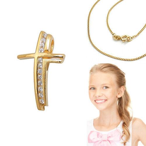 Taufe Kommunion Premium Zirkonia Kreuz Anhänger mit Kette Silber 925 vergoldet