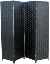 Room Divider Privacy Screen 4-Panel Oriental Straw Weave Frame Japanese Wall NEW