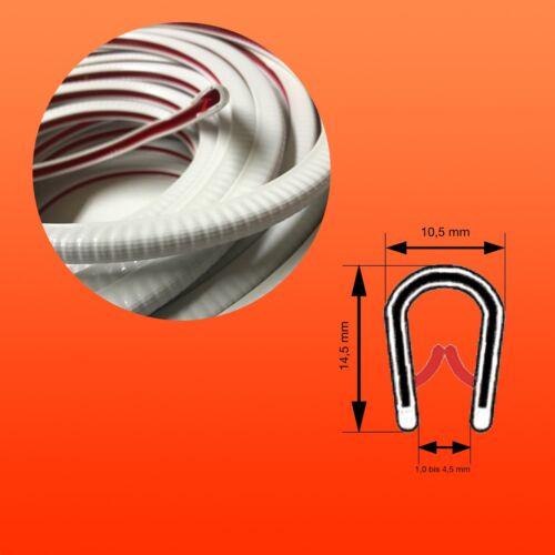 Kantenschutz, Kantenschutzprofil, Keder, PVC, Klemmber. 1-4,5 mm, Farbe weiss