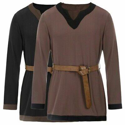 MEDIEVAL VIKING NORSEMAN SAXON Mens Short Sleeve Burgundy COTTON SHIRT TUNIC New