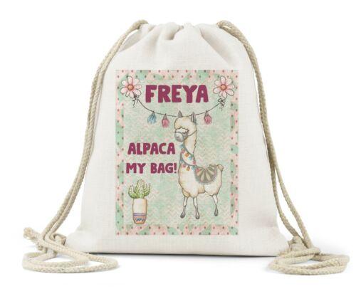 Personalised Drawstring Bag Girls School Dance Nursery Gift Birthday Alpaca Fun