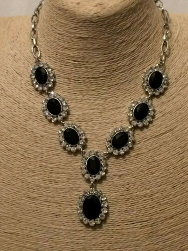 Womens Long Big Large Silver Black Crystal Diamante Rhinestone Chain Necklace