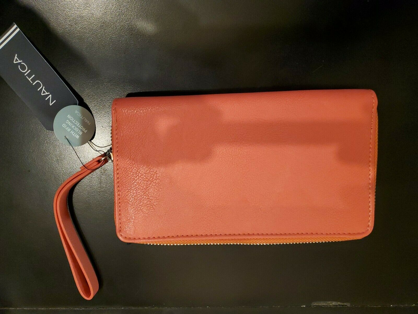 NauticaPlain Sailing RFID Clutch with Removable Strap Wristlet, Spice Coral