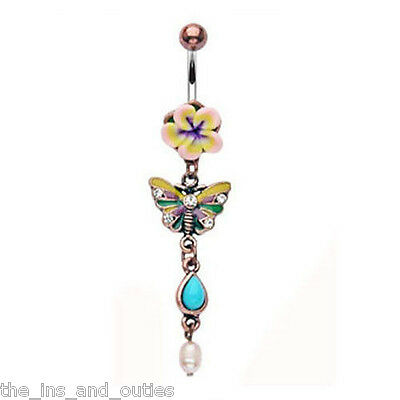 Vintage Fimo Flower Butterfly Belly Ring Navel (w1)
