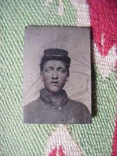 Antique  Mini TINTYPE PHOTO Civil War SOLDIER with KEPI Looks like Elvis