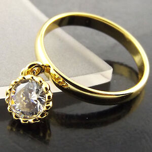 A517 GENUINE REAL 18CT YELLOW G/F GOLD LADIES CLASSIC DIAMOND SIMULATED RING