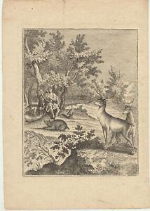 ORPHEUS-Lyra-Gesang-Original-Kupferstich-um-1780-MUSIK-Tiere-BAUME-neigen-sich