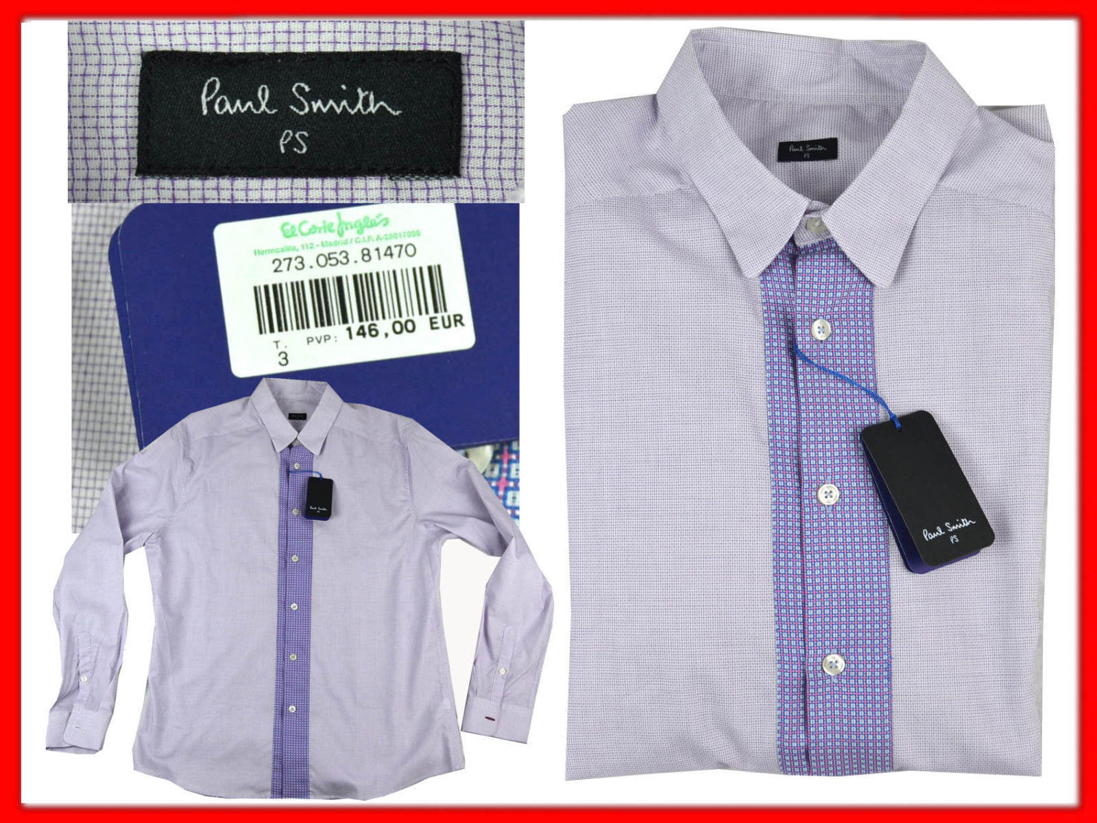Paul Smith Shirt For Man Size L European  UNTIL - 80 % PS16 TOD1