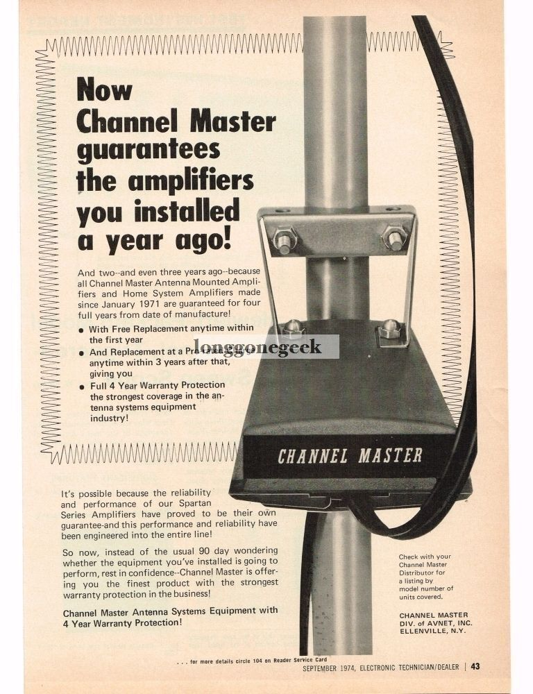 1974 Channel Master Television Antenna Mounted Amlifier Vintage Ad . Available Now for 9.95