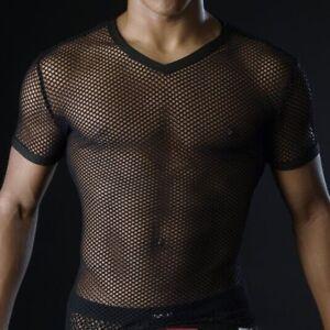 corte con T per uomo a corte trasparenti maniche maniche shirt XwA1qxAt