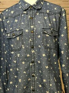 Timeout-Los-Angeles-Southern-California-Denim-long-sleeve-L-Large-Floral-shirt