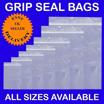 Grip Seal Bag Resealable Clear Plastic ZIP LOCK Polythene Good for Food Freeze