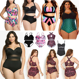 6d949ecf40d Women Plus Size High Waist Bikini Set Push Up Padded Swimwear Beach ...