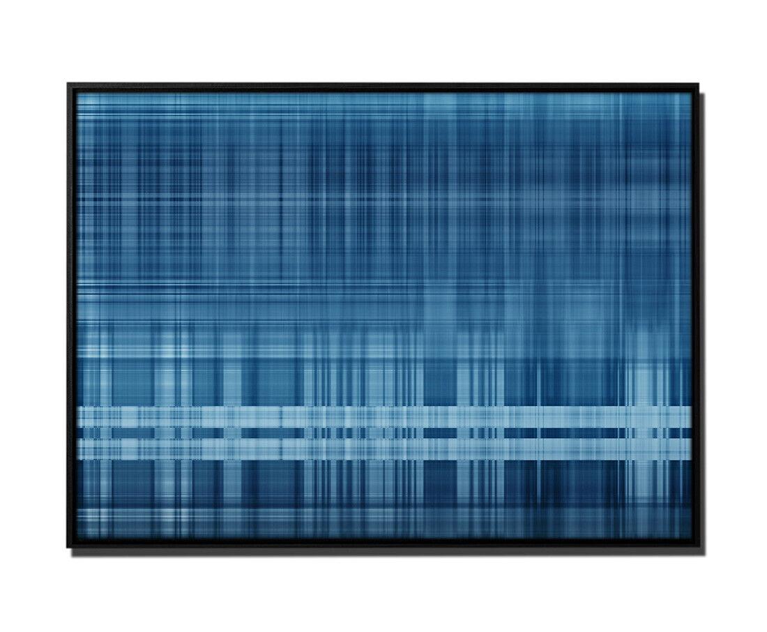 105x75cm Leinwandbild Petrol Grafik Geometrisch Linien Quadrate Strich