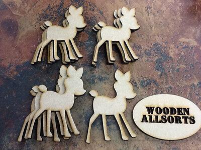 10x MDF Christmas Bambi Reindeer Shape. Craft, Embellishment approx 95mmx67mm(w)