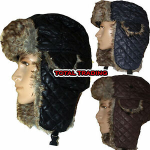 mens-trapper-hat-with-faux-fur-trim-russian-warm-NEW-DIAMOND-QUILT