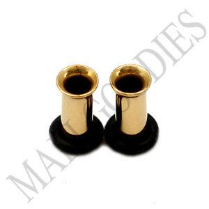 0850-Steel-Gold-Color-Single-Flare-Flesh-Tunnels-Earlets-6G-Ear-Plugs-4mm