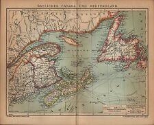 Landkarte map 1904: ÖSTLICHES CANADA UND NEUFUNDLAND. Maßstab: 1 : 5.000 000