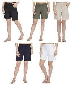 Ladies-Linen-Blend-Long-Shorts-Summer-Shorts-UK-10-22