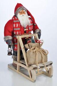 Père Noël Père Noël Nicolas avec Traîneau Debout Décoration de Noël ...