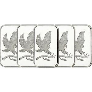 Trademark-Bald-Eagle-1oz-999-Fine-Silver-Bars-by-SilverTowne-LOT-OF-5