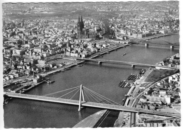 AK, Köln, Luftbildübersicht der Innenstadt, um 1961