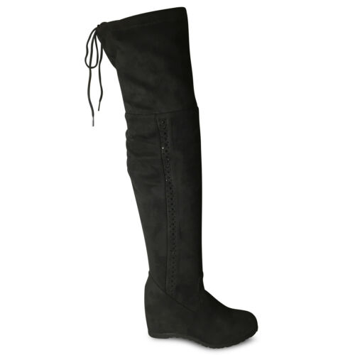 Damen Stiefel gefüttert Boots Keilabsatz High Heels Stiefeletten Wedge neu JA72