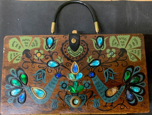 ENID COLLINS/ Collins of Texas Wooden Box Bag PAVA