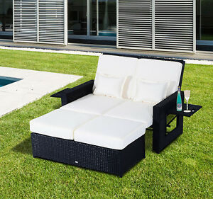 2pc rattan wicker chaise lounge patio furniture set sofa for Belmont black wicker patio chaise lounge