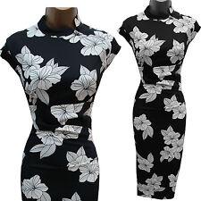 KAREN MILLEN Black White Satin Chinese Oriental Floral Cocktail Wiggle Dress 10