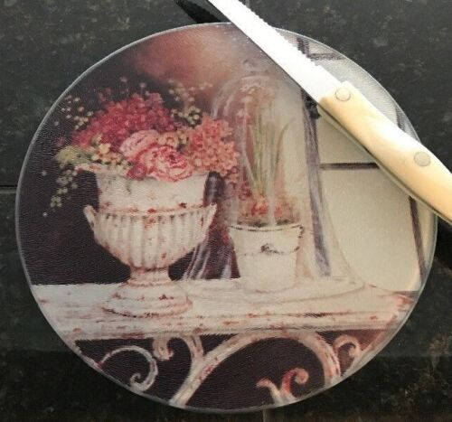 Tempered Glass Cutting Board Trivet Cheese Flower Botanical Pink Rose French Vtg