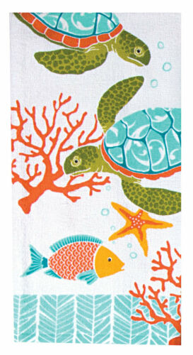 Set of 2 ISLAND TIME SEA TURTLES Coastal Terry Kitchen Towels by Kay Dee Designs