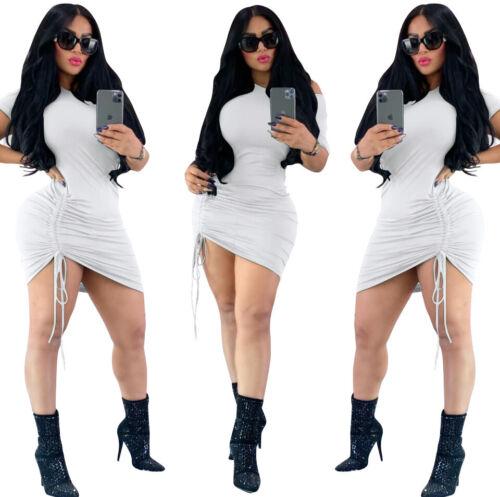 2020 Hot New Women/'s O Neck Short Sleeves Draped Solid Bodycon Short Dress Club