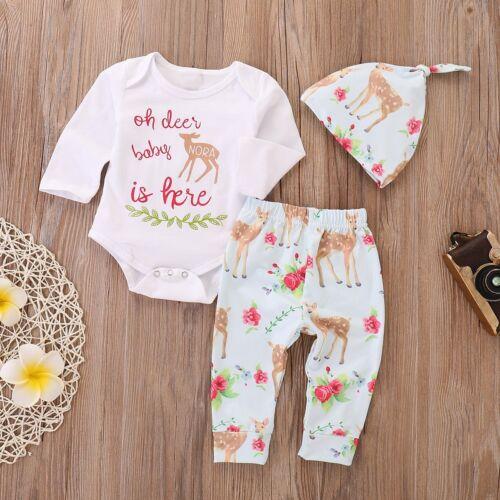 3PCS Newborn Baby Boys Girls Deer Outfits Clothes Romper Bodysuit+Pants Hat Set