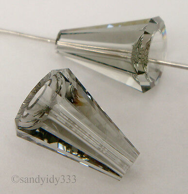 2x SWAROVSKI 5540 BLACK DIAMOND 12mm ARTEMIS BEAD CRYSTAL