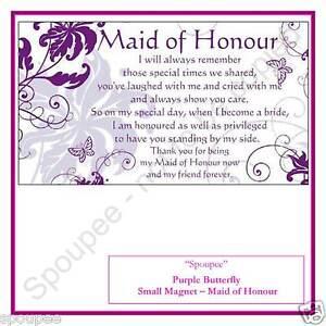 maid of honour poem gift fridge magnet wedding purple butterfly