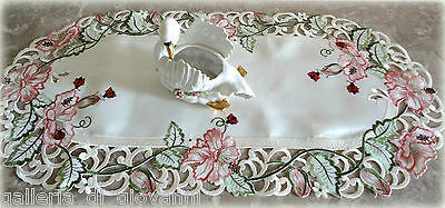 """Lucky Ladybugs Lace 27"""" Table Runner Doily Pink Flower"""