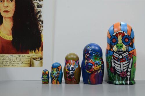 nesting dolls handmade Sugar Skull chiwawa dogs Russian Matryoshka Babushka