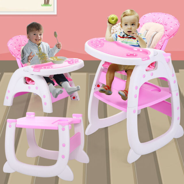 Baby High Chair 3 In 1 Convertible Play Table Seat Booster Toddler