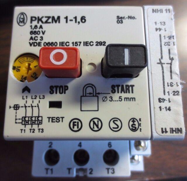 660V MANUAL MOTOR STARTER PKZM 1-1,6-NA MOELLER 1.6A