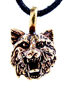 Wolf's Head pendant Bronze Wolf Plastic Chain Pendant Skull With Band No. 42