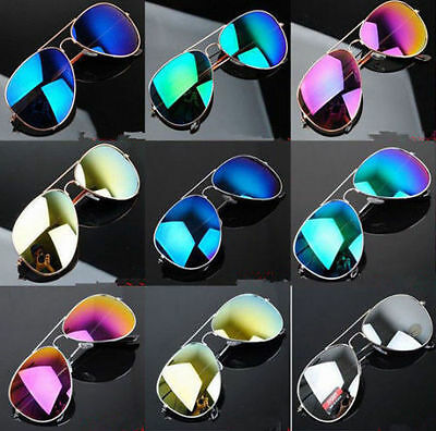 New  Mirror Sunglasses Silver Men Women Pilot Anti Glare F