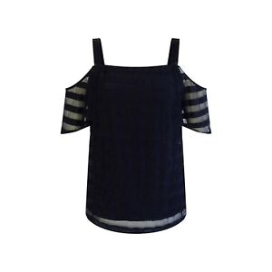 WALLIS-New-Black-Cold-Shoulder-Striped-Strappy-Top-Size-10-18-RRP-35