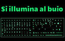 Adesivi lettere tastiera Italiano fosforescenti si illuminano al buio 102 tasti