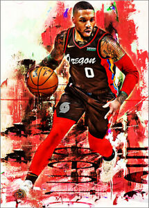 2021-Damian-Lillard-Portland-Trailblazers-Basketball-3-25-Art-Print-Card-By-Q