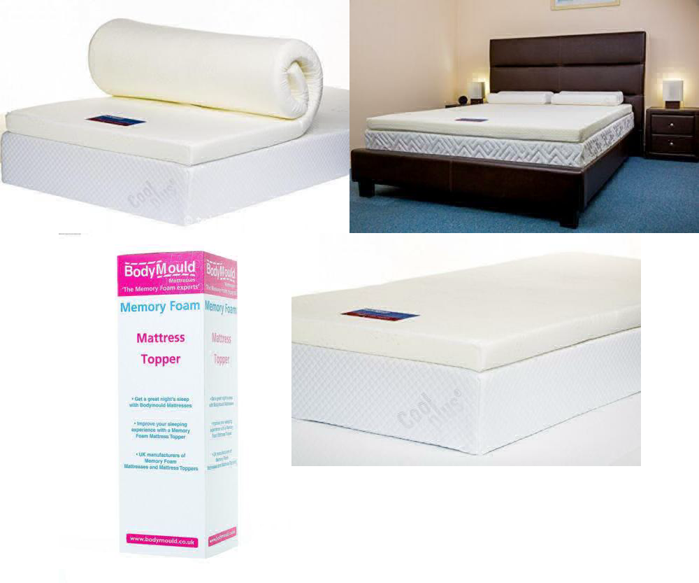 Bodymould Memory Foam Mattress Topper with Cover 3 inch - UK Double UK POST FREE