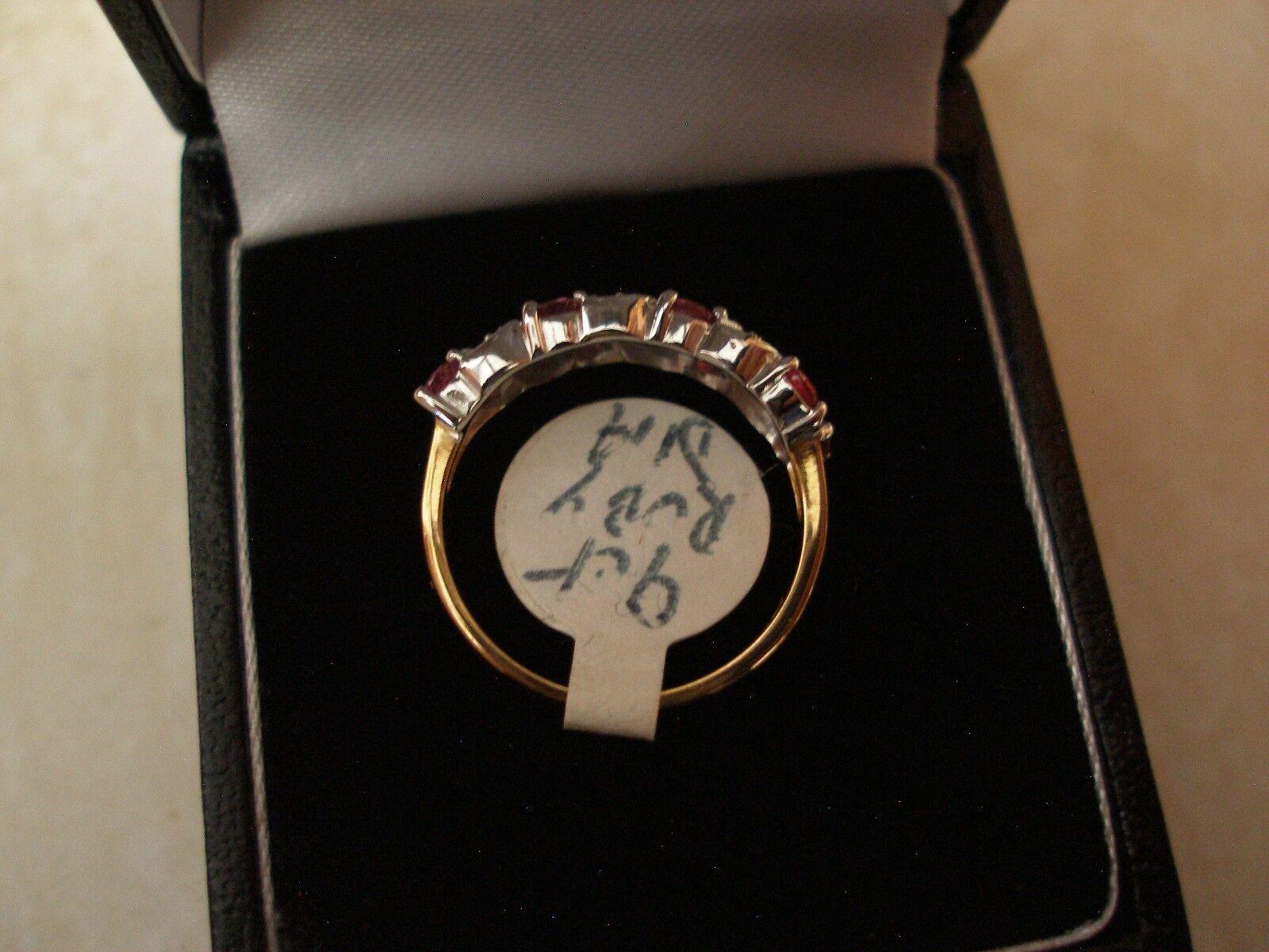 oro 9 Carati Rubino E Diamante Set Anello Anello Anello Eternity o Abito MADE IN ENGLAND NUOVO CON SCATOLA d8b977