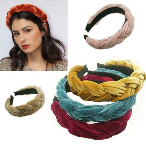 Mode Frauen Samt Twist Geflochtenes Stirnband Haarband Hoop Zubehör Haarban H3I5